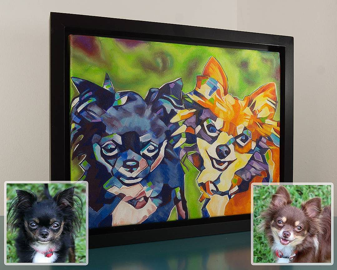 Commissioned Pet Painting Taz and Chance With original photos inset 11in x 14in x 1.375in . . Completed with an acrylic base coat with oil paint as a finishing coat. The full pet portrait package also includes; a frame, hanging assembly, and a link to high quality images and a time lapse video of the painting being created. . Now taking commissions: www.camerondixon.com . . .