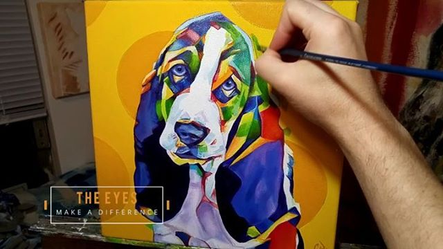 Pop Art Pet Portrait Bassett Hound Puppy TimeLapse 12in x 12in x 1.375in  A time-lapse of me painting this Basset Hound from start to finish.  Prints, products, and originals available via my website: www.camerondixon.com