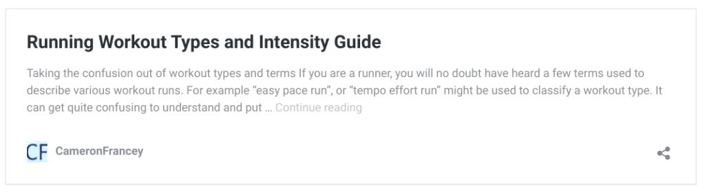 running workout intensity