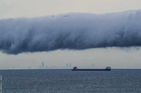 roll cloud chicago skyline cargo ship lake michigan indiana dunes state park nws national weather service