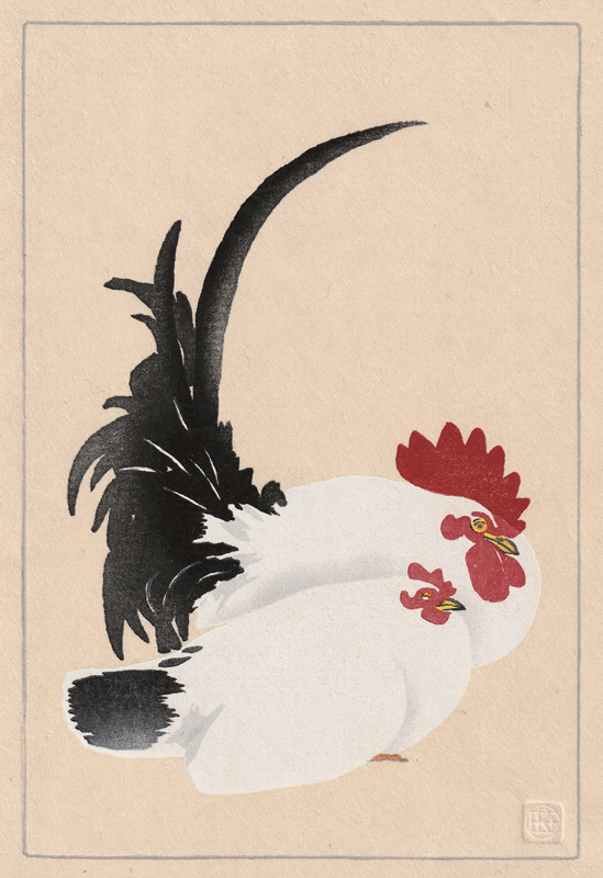 Rooster and Hen, after Koson