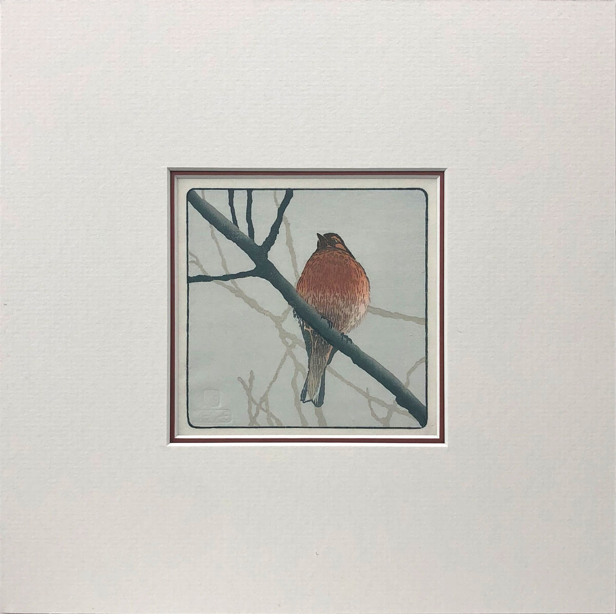 Chaffinch woodblock print mounted by Claire Cameron-Smith