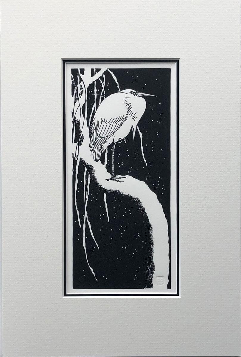 Egret, after Koson woodblock print mounted by Claire Cameron-Smith