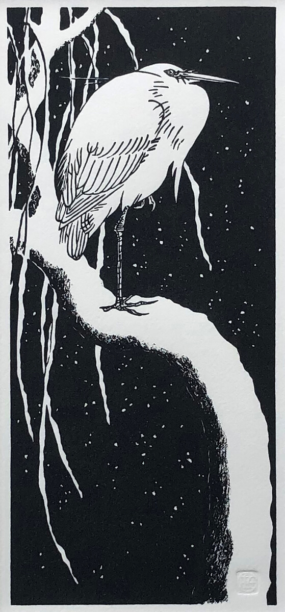 Egret, after Koson woodblock print by Claire Cameron-Smith