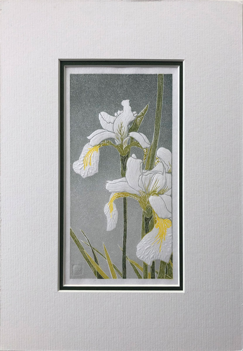 White Irises mounted