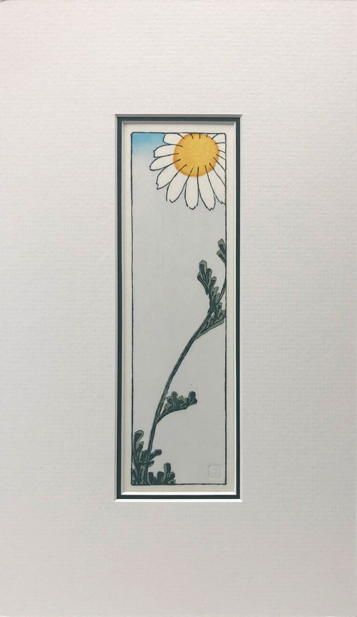 Hiroshige's Daisy woodblock print mounted by Claire Cameron-Smith