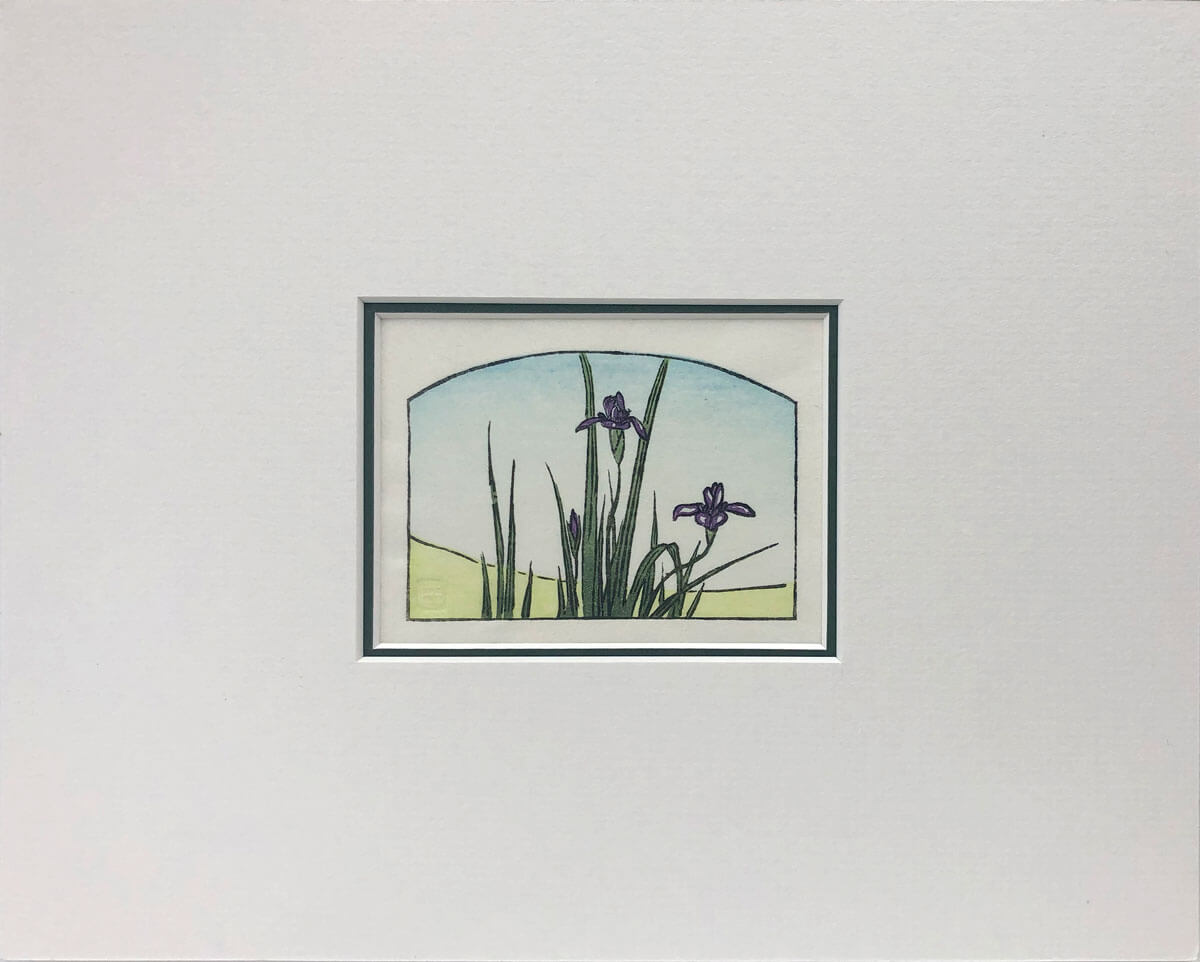 Hiroshige's Irises woodblock print mounted by Claire Cameron-Smith