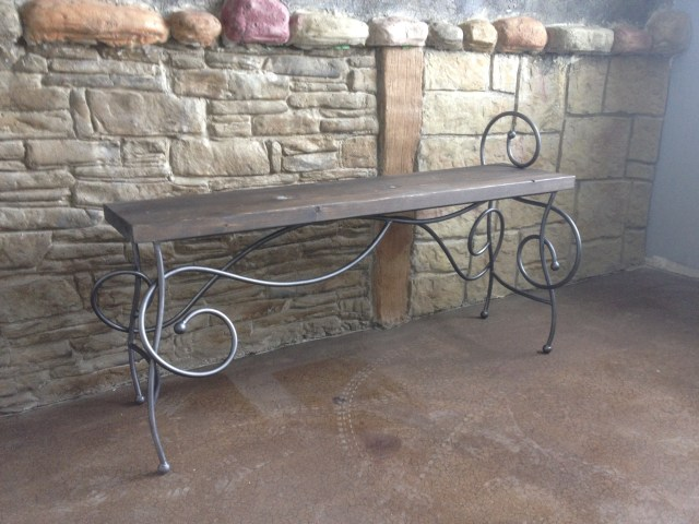 Scroll bench functional iron art