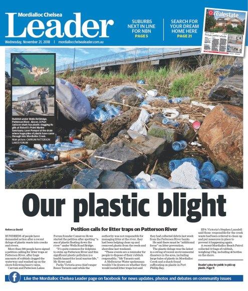 Patterson River litter traps, Mordialloc Chelsea Leader