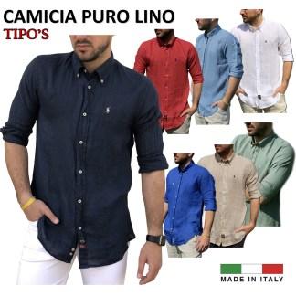 5xl Uomo Camicia da Lino Rosso Melange sottili LINO miscela Huber 421 Regular M