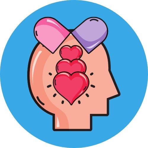 desenho de rosto humano com cápsula jogando corações