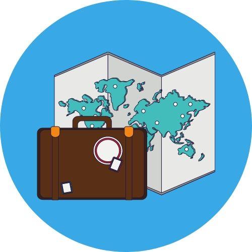 desenho mala de viagem e mapa