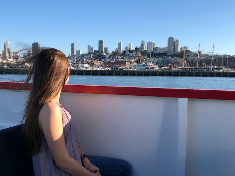 on a boat ride in the San Francisco bay area looking at the cityline