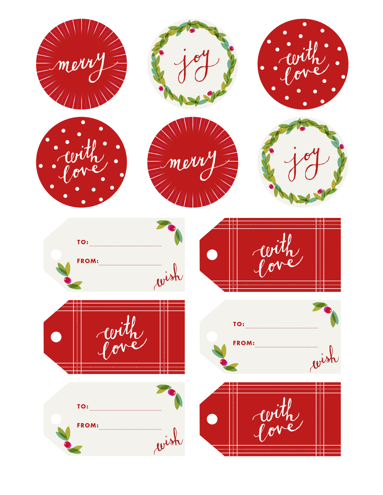 Fine Print Holly Jolly T Tags