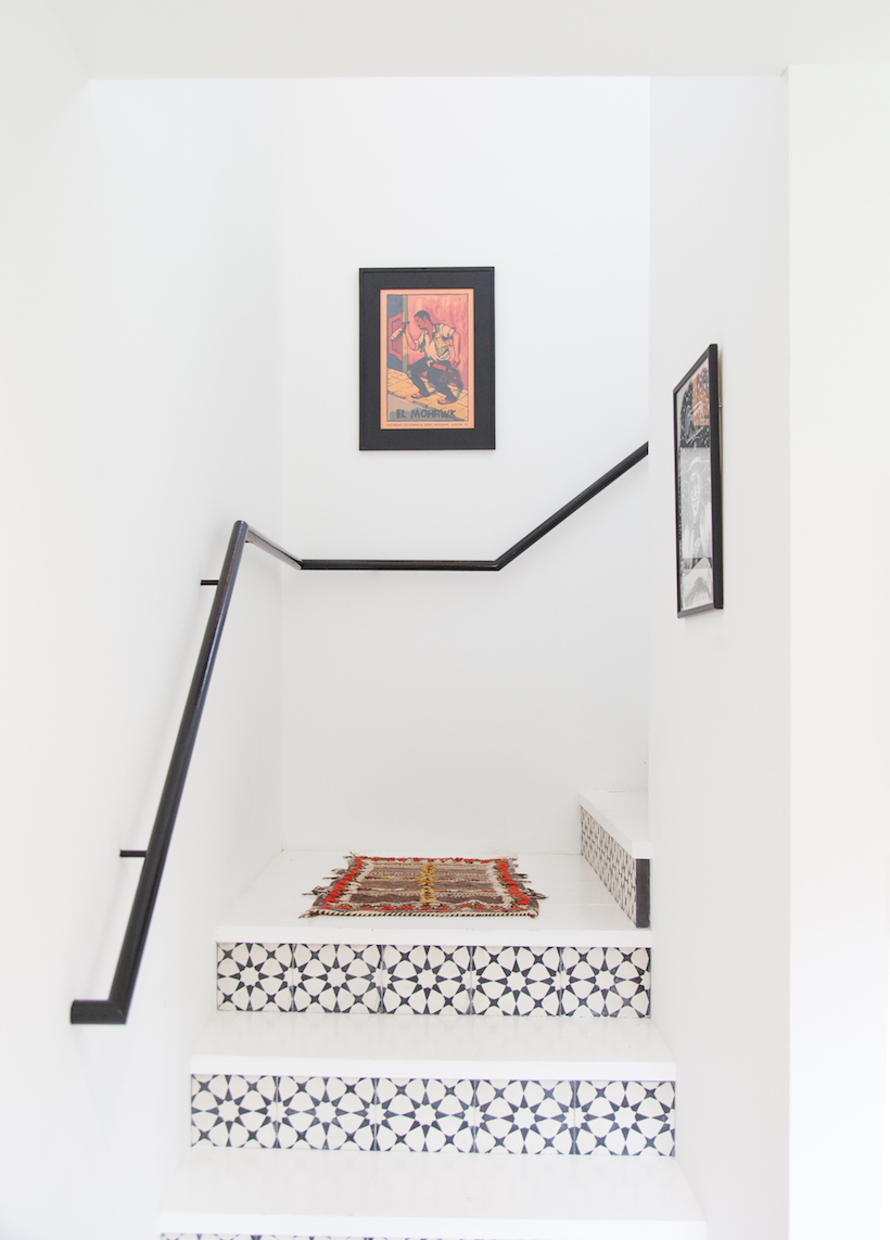 black and white-tiled staircase