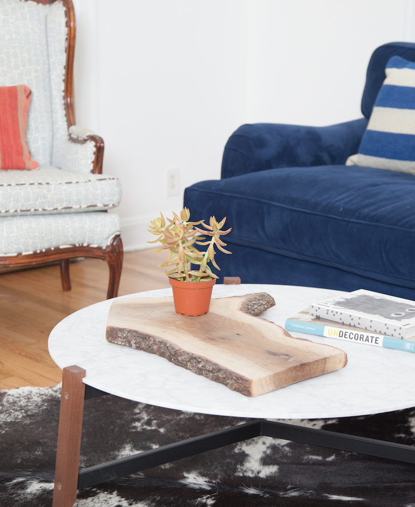 blue couch and modern coffee table