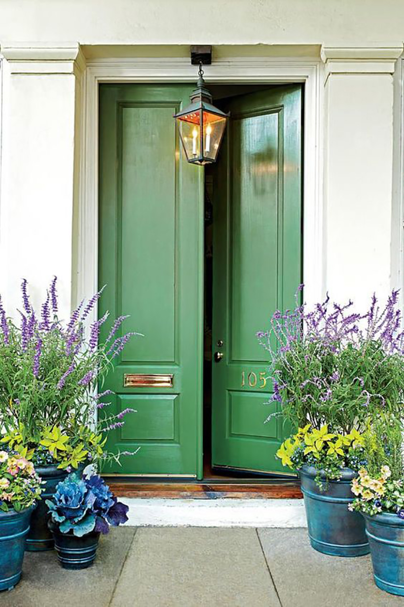 sage green front door color