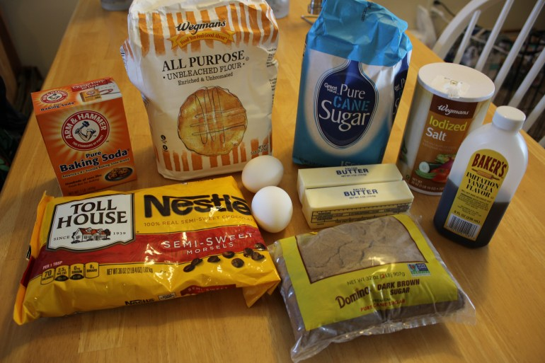 Raw ingredients for chocolate chip cookies