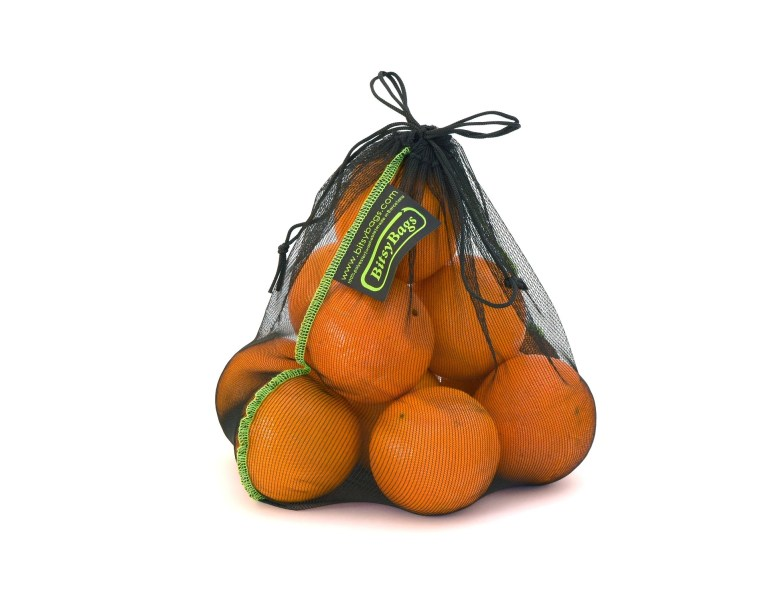 Oranges in a mesh, reusable bag.