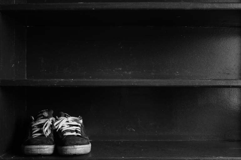 Black shoe shelf