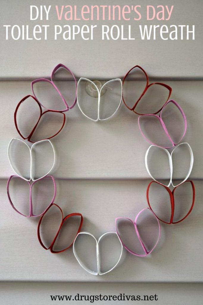 DIY Valentine's day decoration toilet paper roll wreath