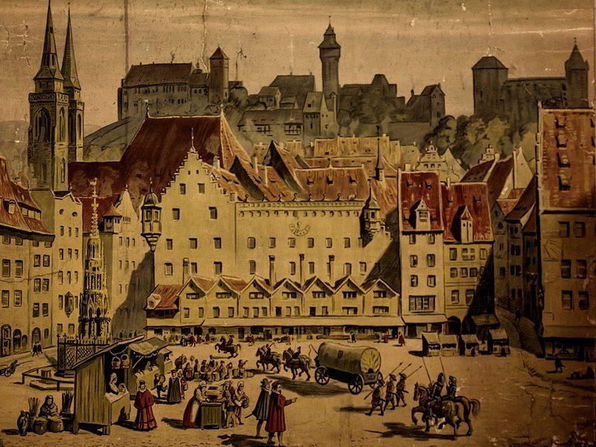 Historia-de-la-Edad-Media,-la-ciudad-alemana-de-Nuremberg.alt
