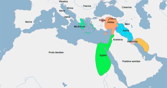 Mapa del Mediterráneo oriental en el año 1200 aC.