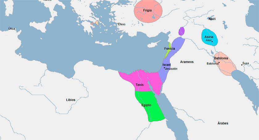 Mapa del Mediterraneo Oriental en el año 1000 aC.