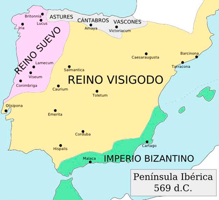 La península Ibérica en el año 569