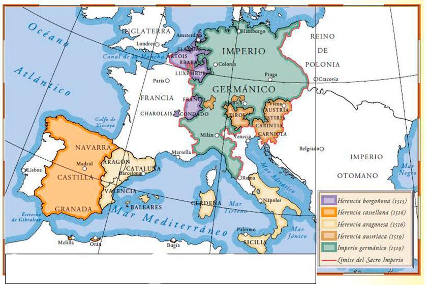 Mapa de la herencia de Carlos V
