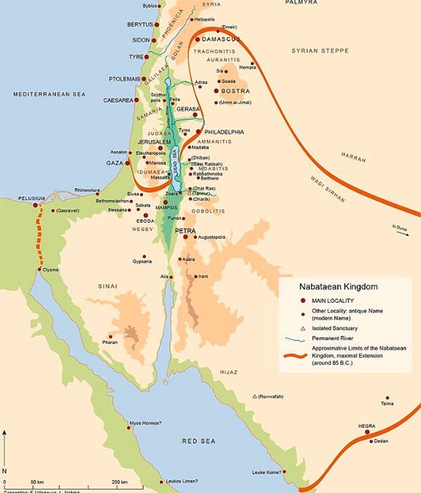 Máxima extensión del Reino Nabateo