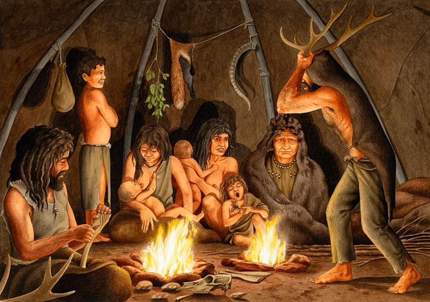 Recreación de una escena familiar en el Magdaleniense