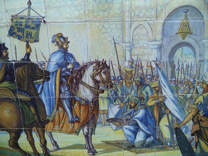 La toma de Toledo, en los azulejos de la Plaza de España en Sevilla.