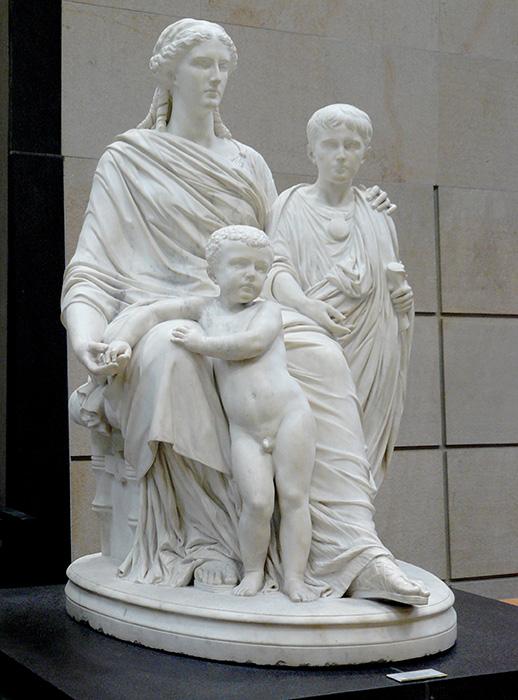 Cornelia la Africana, junto a sus hijos. El mayor Tiberio, el pequeño Cayo.
