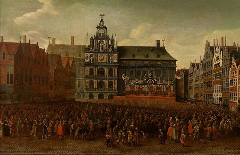 Celebración en Grote Markt de Amberes de la Paz de Westfalia