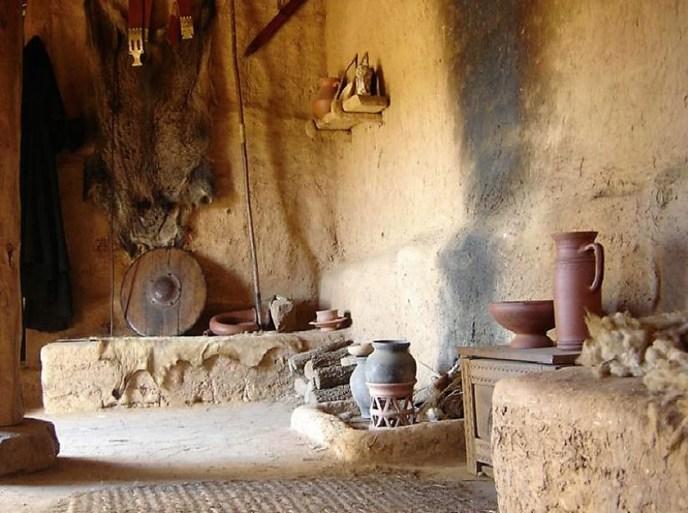 Recreación del interior de una vivienda de Numancia.