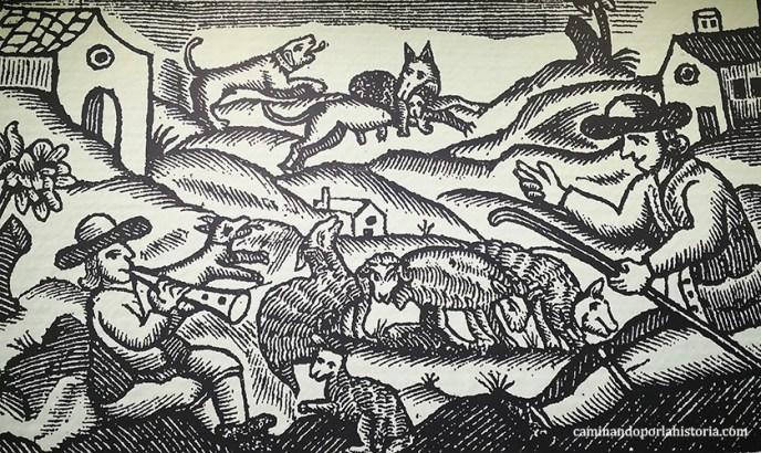 Grabado medieval, donde pastores intentan espantar a los lobos.