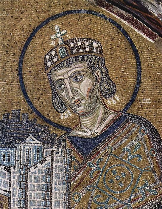 Constantino en un mosaico de Santa Sofia