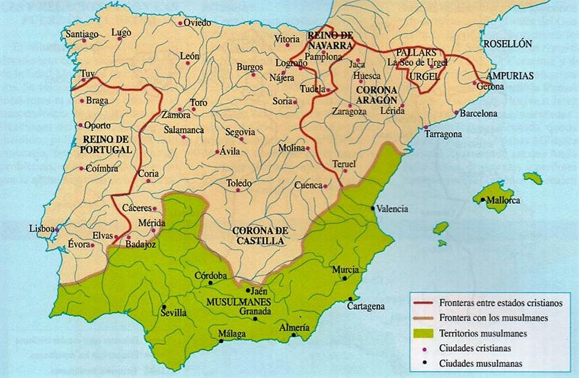 al-Ándalus en el año 1230, tras la unión de Castilla y León.