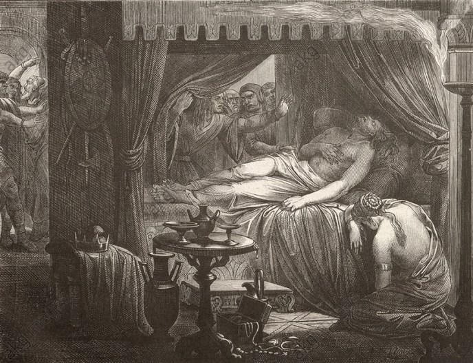 Grabado representado a la muerte de Atila