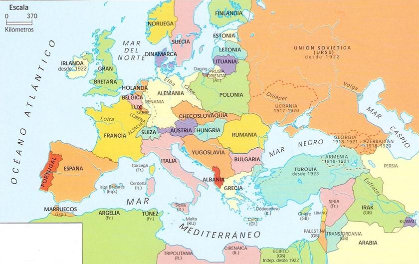 La Europa que dejó el Tratado de Versalles.