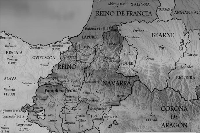 mapa de la zona donde existieron agotes, a principios del siglo XVI