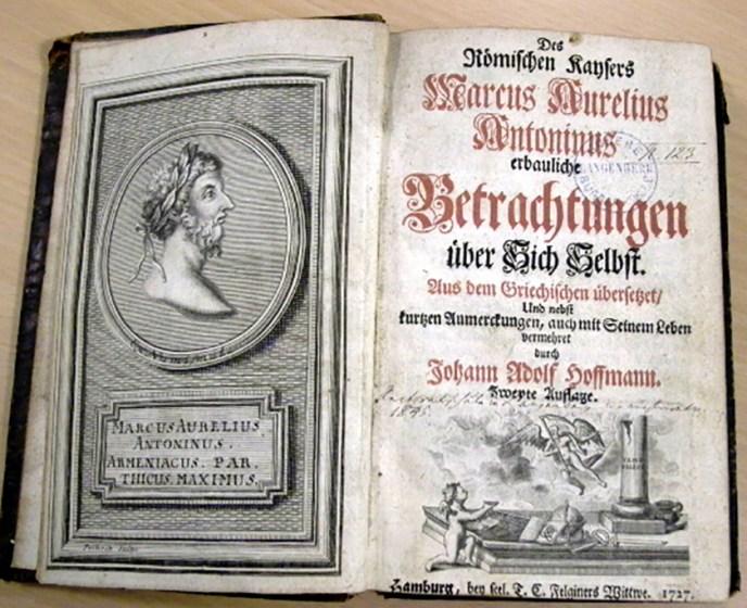 Meditaciones, la obra de Marco Aurelio en alemán (siglo XVIII)