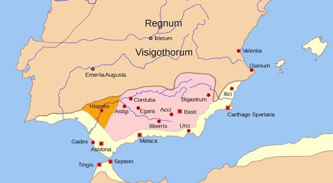 La provincia bizantina de Spania, prácticamente los territorios de la antigua Bética Romana.
