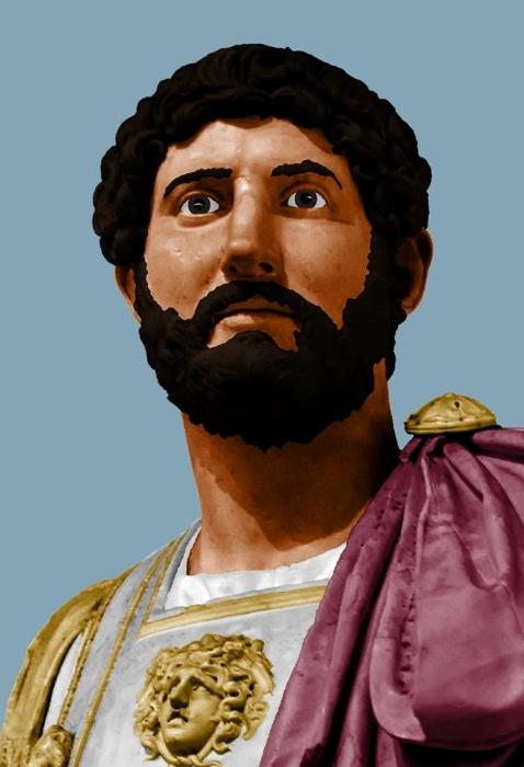Adriano, en una costumbre muy actual de las Redes Sociales de colorear a los emperadores romanos.