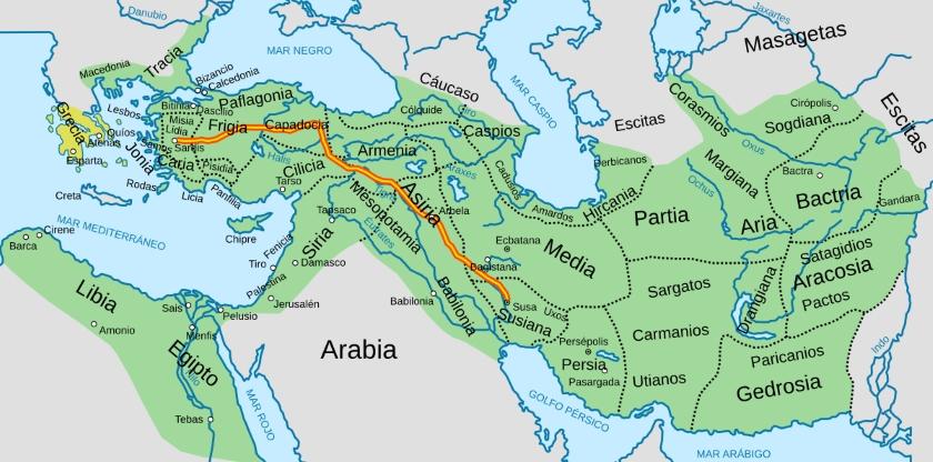 Mapa del imperio persa aqueménida.