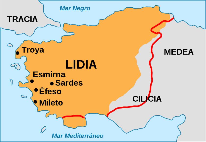 Mapa de la satrapía de Lidia, durante el dominio persa.
