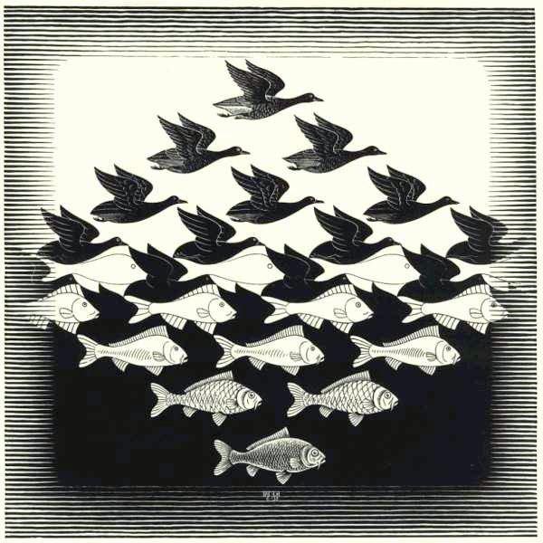 Rombo: aire y agua. M. Escher