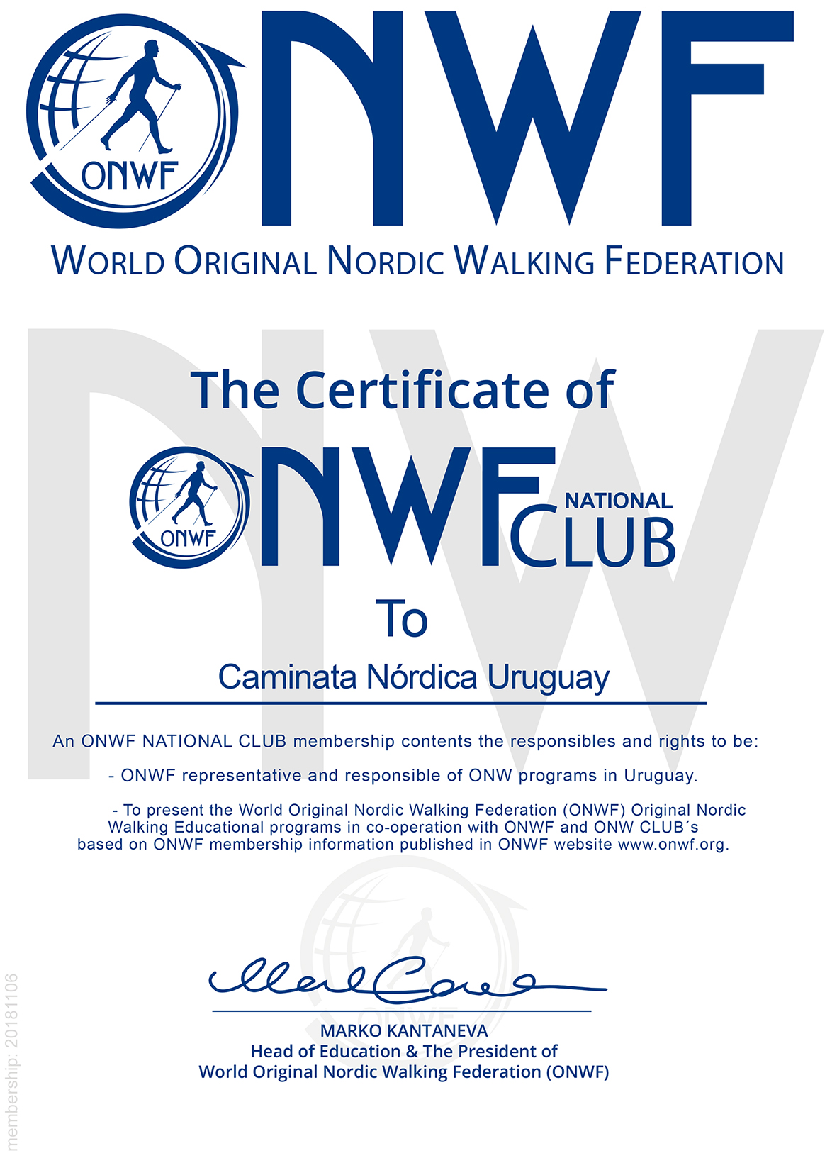 The Certificate of Caminata Nórdica Uruguay ONWF national Clu