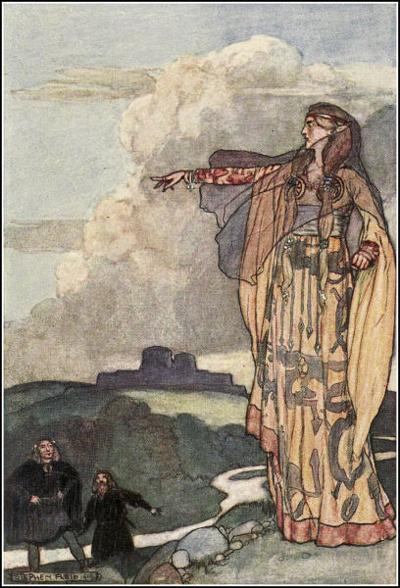 """Macha Curses the Men of Ulster"", Stephen Reid's illustration from Eleanor Hull's The Boys' Cuchulainn (1904)"